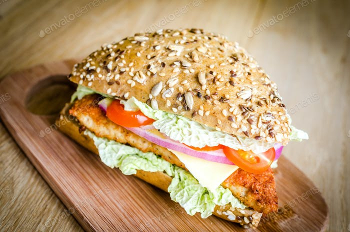 Triangle wholewheat-bun hamburger