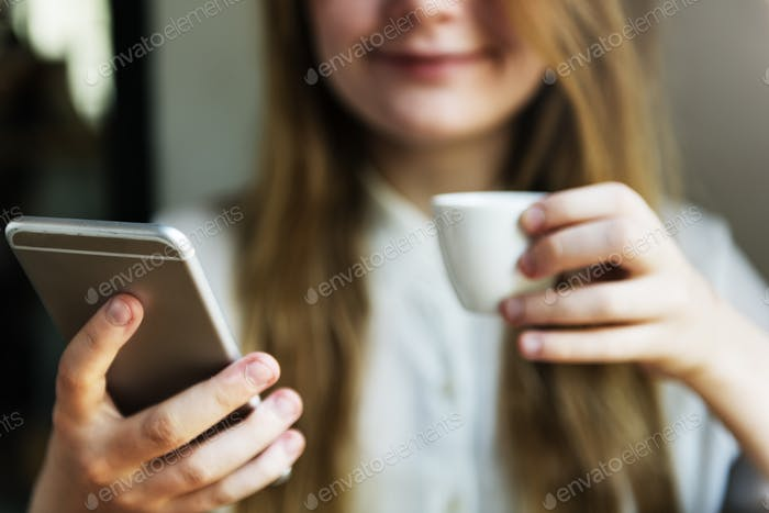 Girl Drinking Coffee Shop Concept