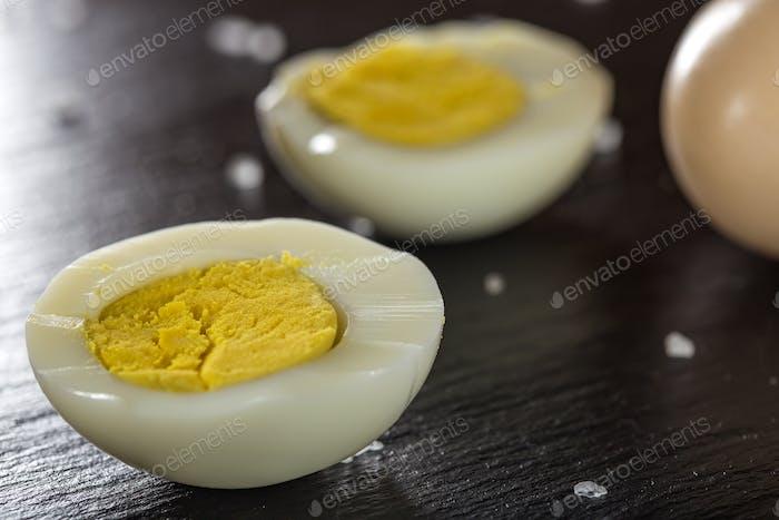 Slices of boiled hard eggs