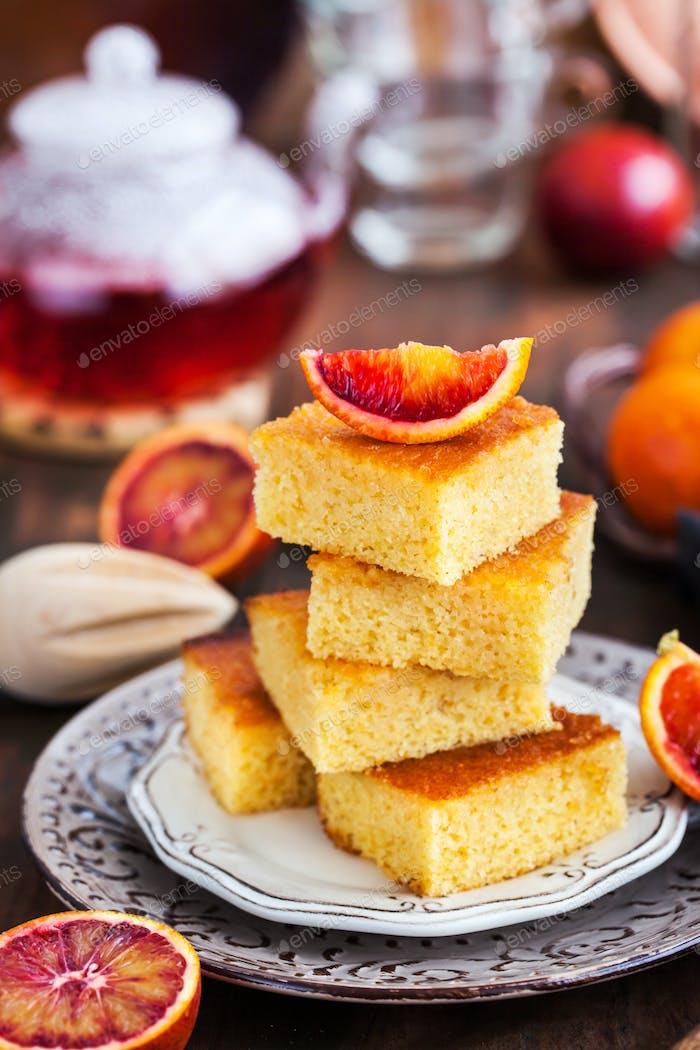 Homemade gluten-free polenta, almond and blood orange cake