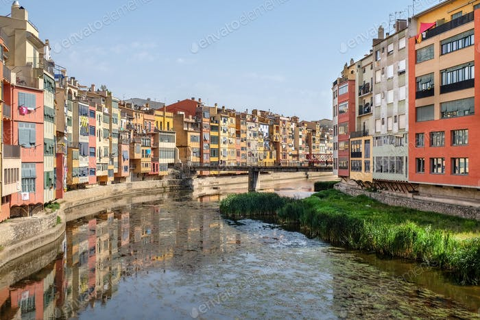 Picturesque houses overlooking the river Onyar in Girona
