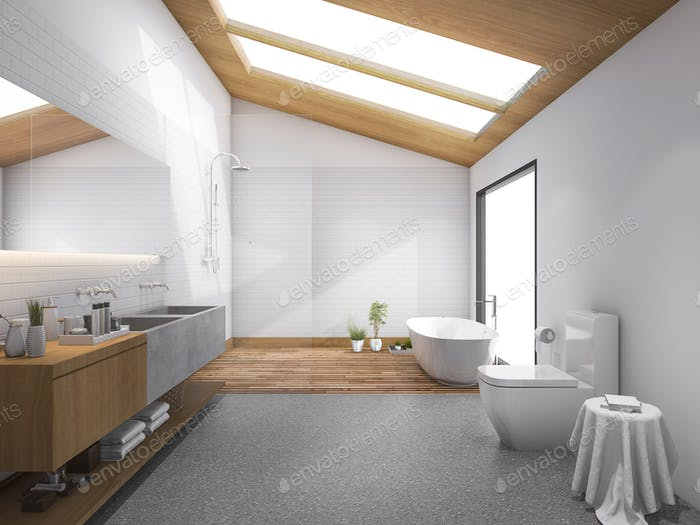 3d rendering skylight wood roof with modern design bathroom and toilet