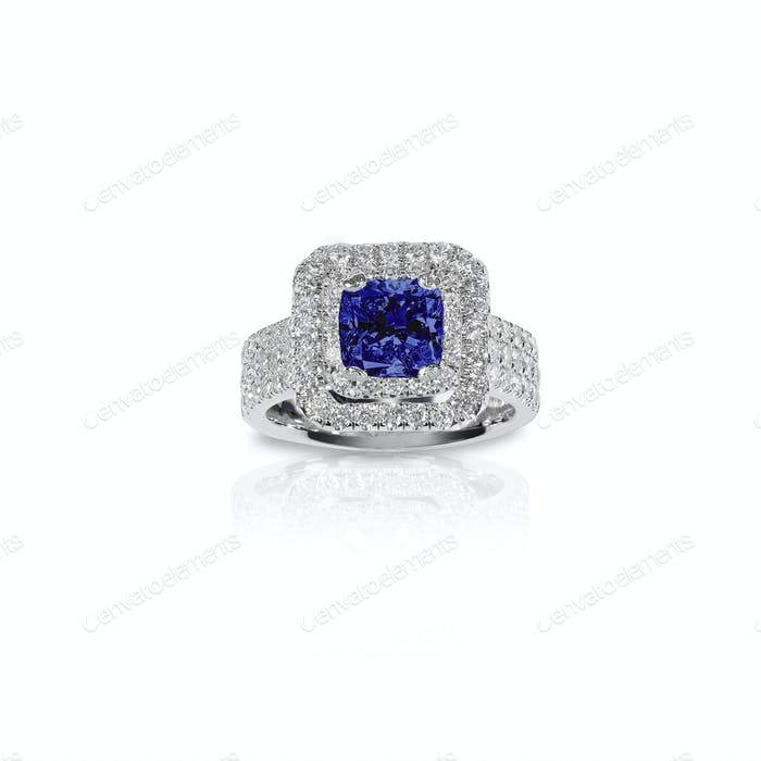 Blue Sapphire Beautiful Diamond Engagement ring. Gemstone square princess cut