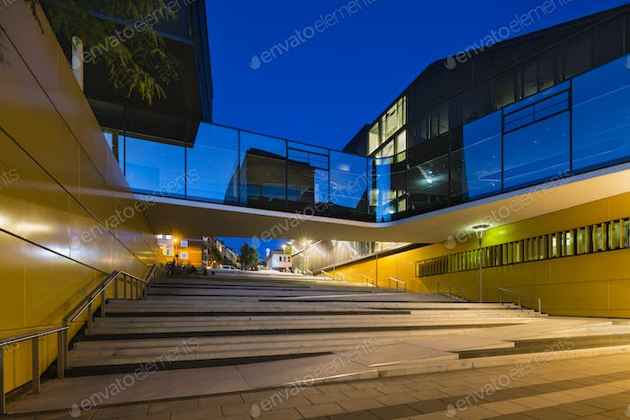 Stairs And Glass Bridge In Aachen, Germany At Night