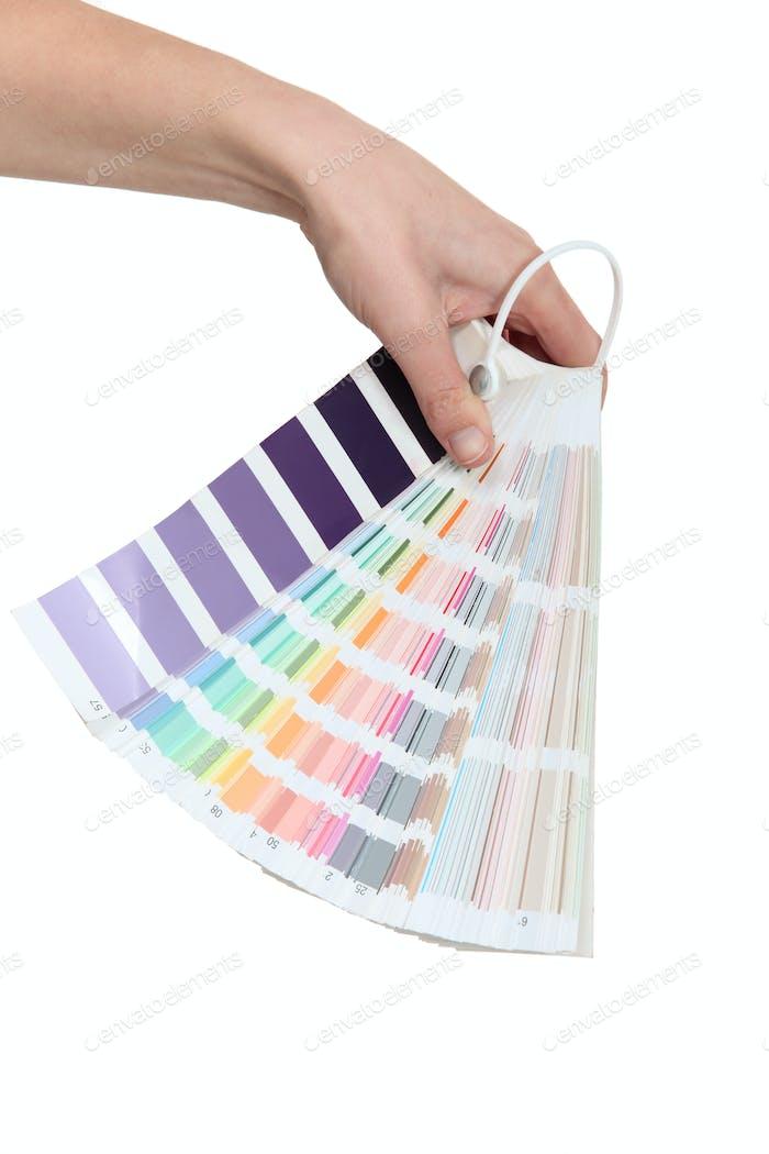 Hand hält eine Farbkarte