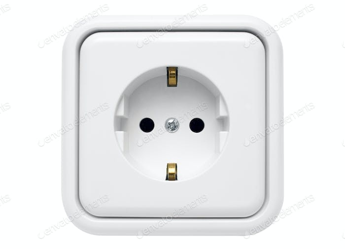 White Power Outlet with Clipping Path Isolated on a White Background