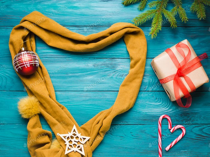 Christmas winter flat lay with scarf heart