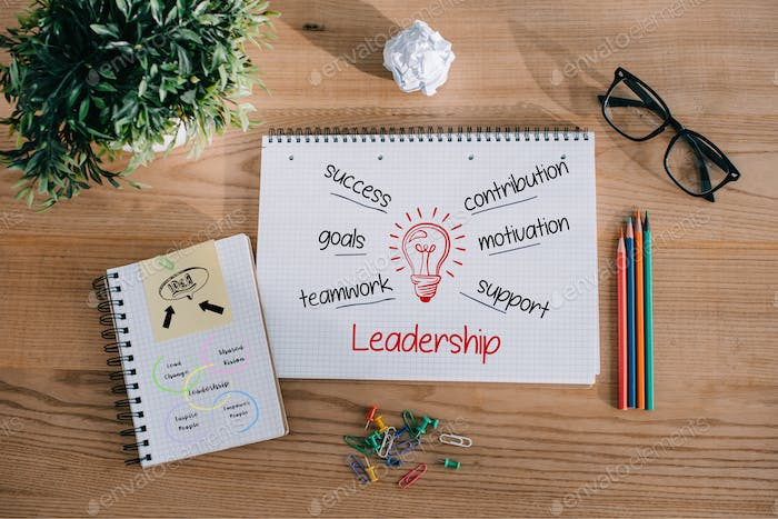 top view of notebooks with leadership ideas on wooden tabletop in office