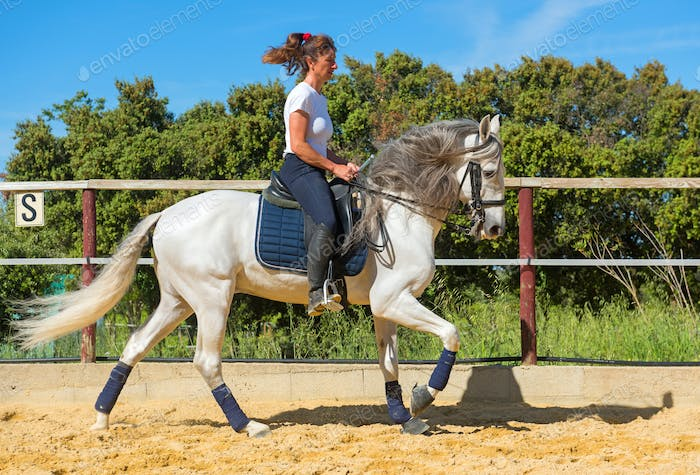 training of riding girl