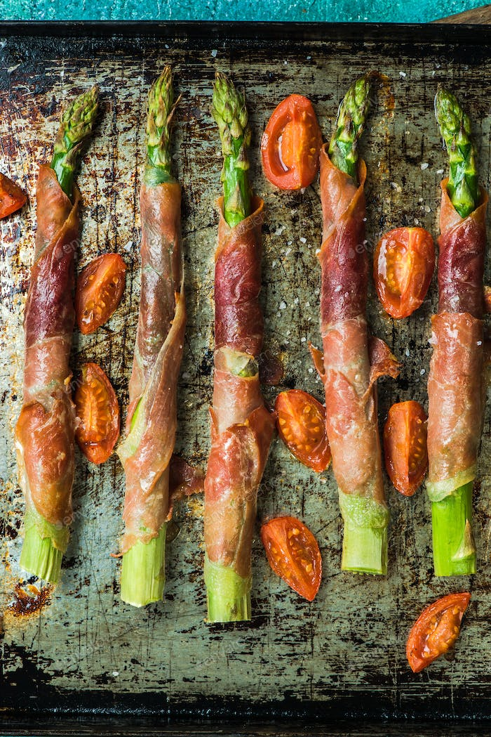 Prosciutto ham wrapped around asparagus