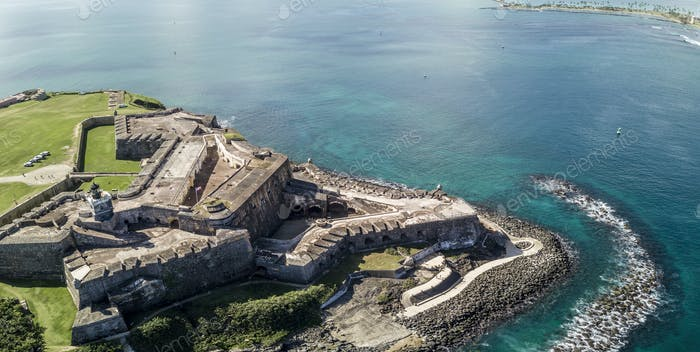 Aerial panorama of El Morro fort and San Juan, Puerto Rico.