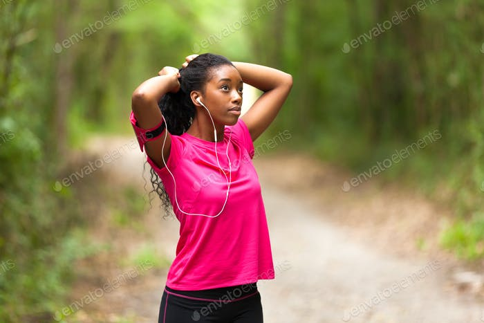 African american woman jogger portrait  - Fitness, people and h
