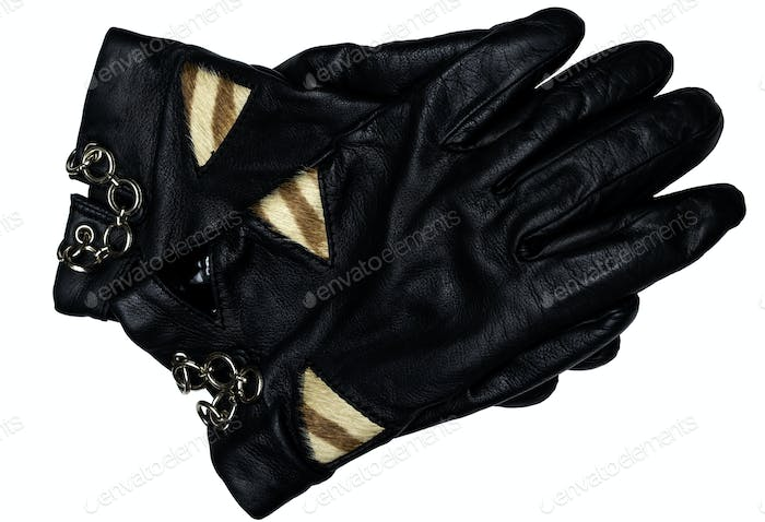 Leather black gloves
