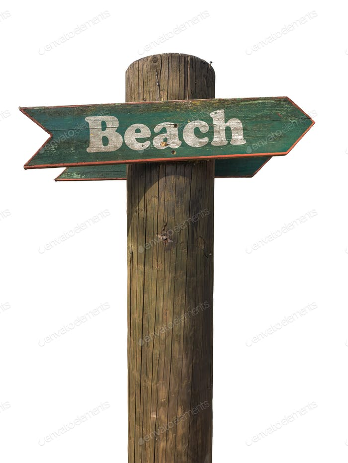 Isolated Beach Sign