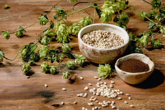 Hops, wheat and malt