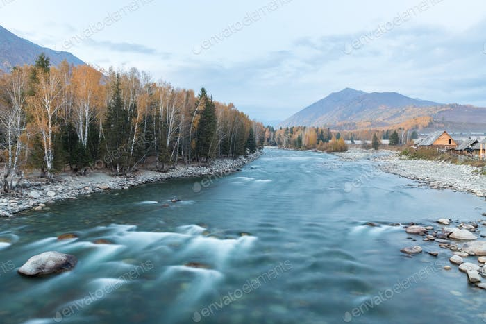 beautiful hemu river in autumn, xinjiang hemu village