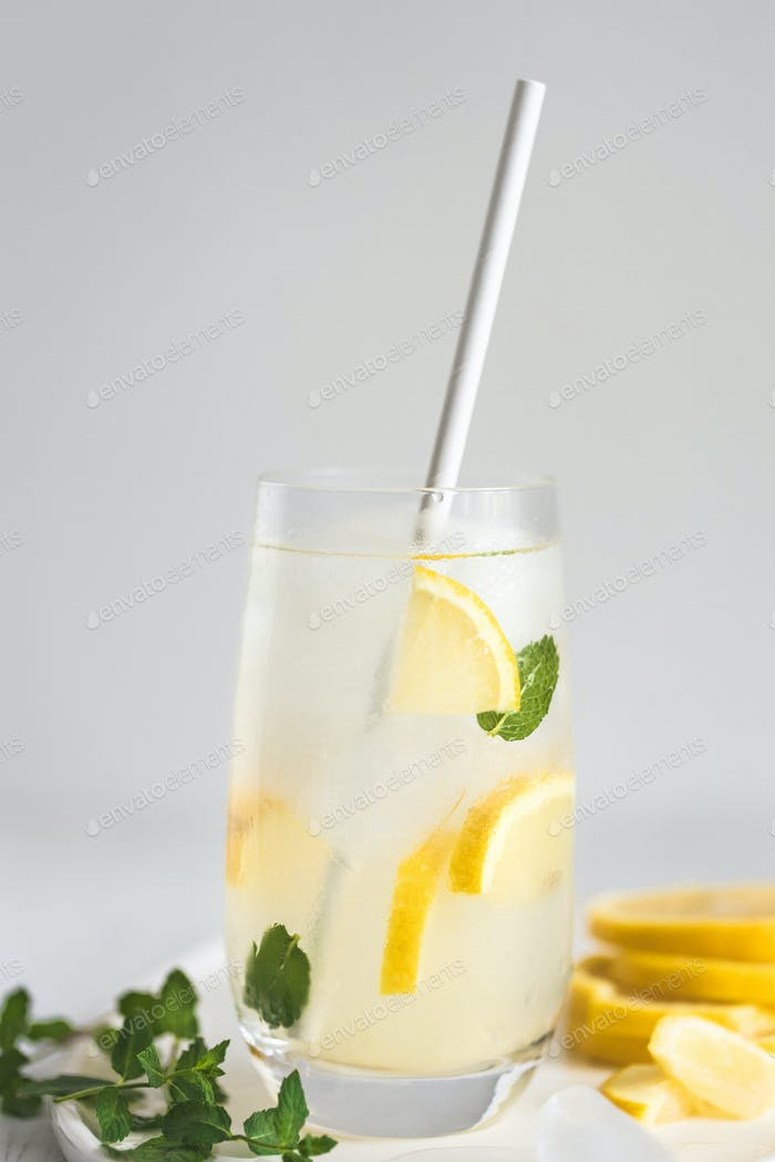 Cold Lemonade with Paper Straw.