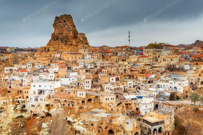 The ancient Ortahisar Castle in Cappadocia in central Turkey is a major landmark