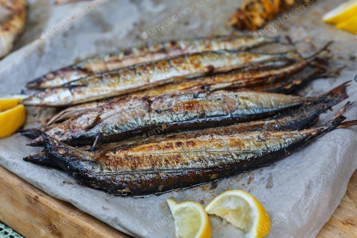 Fish mackerel grilled at bbq