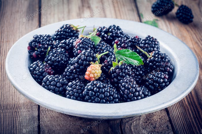 juicy fresh organic blackberries in old bowl