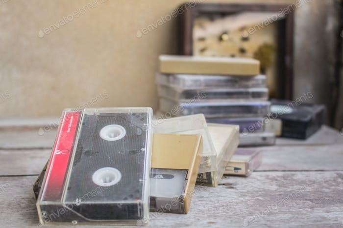 Old cassette on table