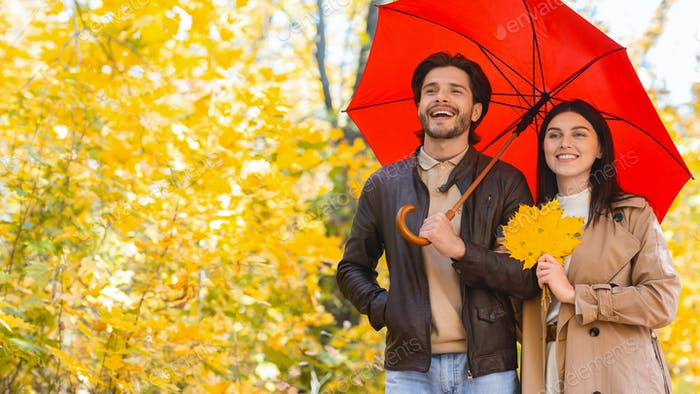 Happy ouple walking under umbrella at rainy autumn day