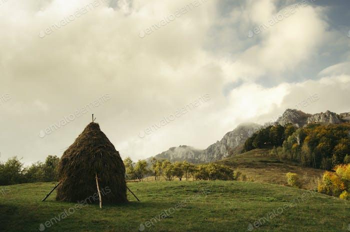 Rural mountain landscape in Transylvania