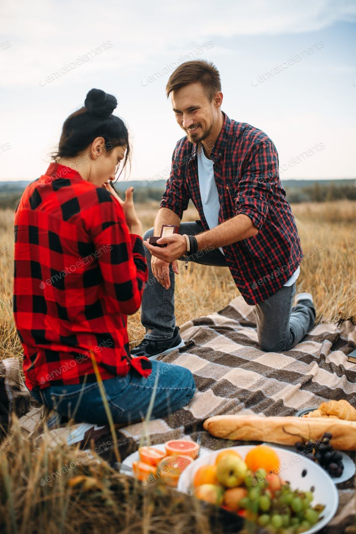 Man makes a marriage proposal on romantic picnic