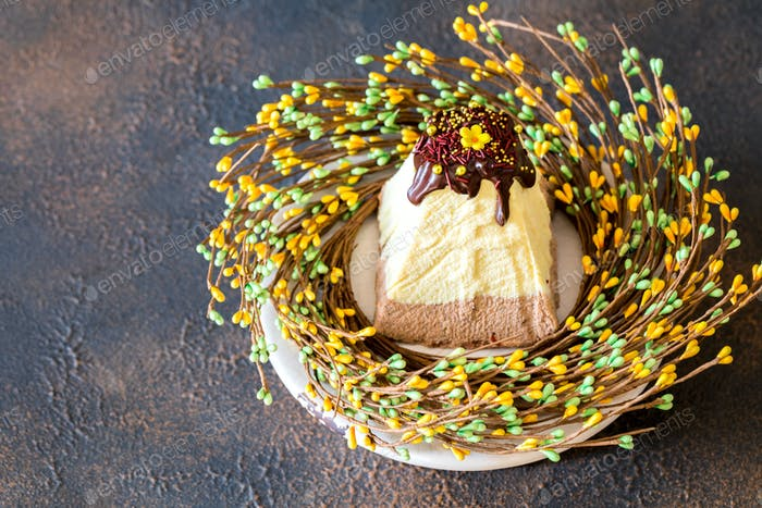 Easter food background.Paskha and kulich