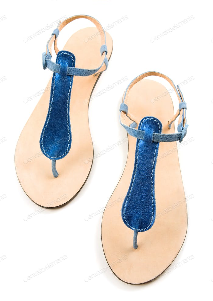 Blue metallized leather flip flop sandals