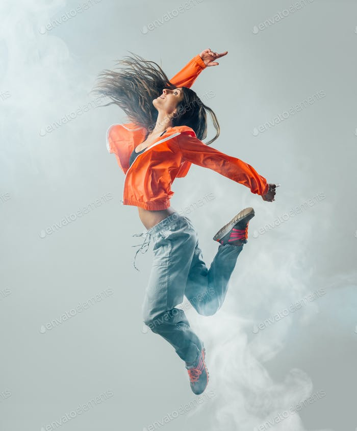 Modern dancer jumping