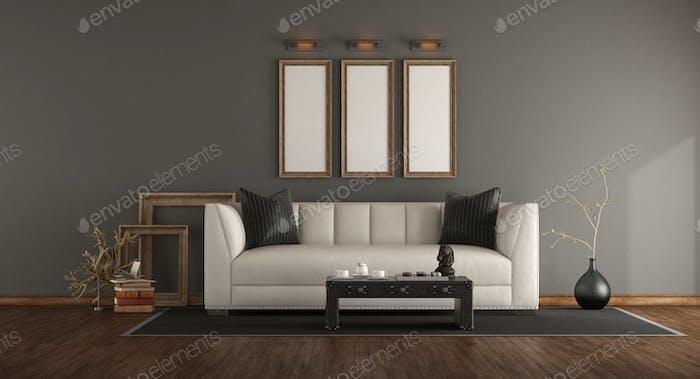 Elegant interior with white sofa
