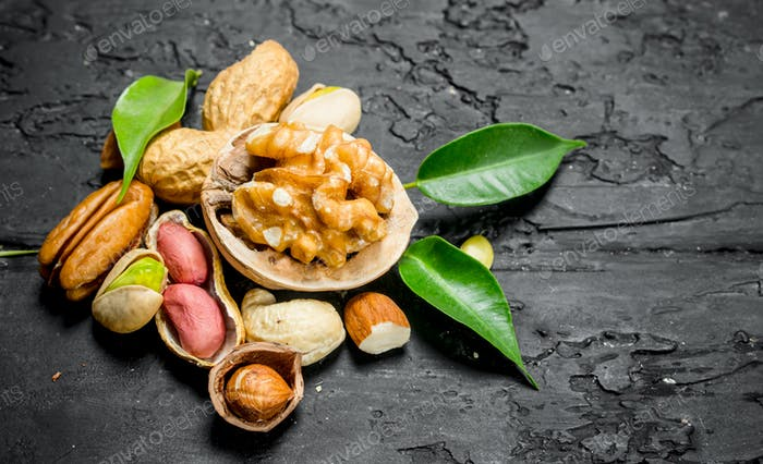 Nuts background. Different kinds of nuts with leaves.