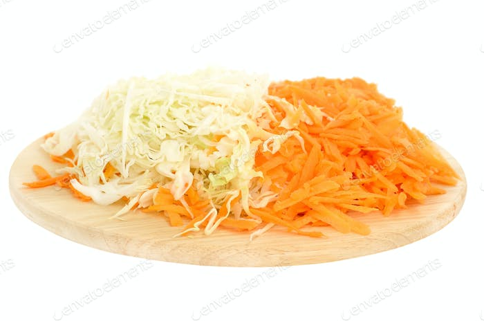Grated carrot and cabbage