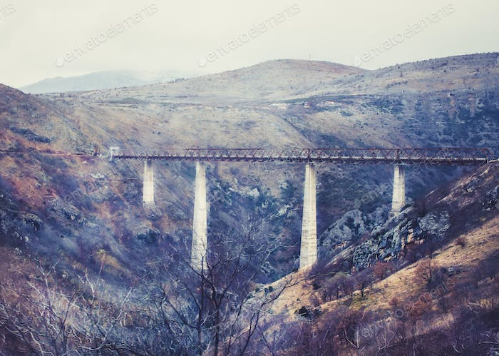 The highest railway bridge in Europe near Kolasin crossing the c