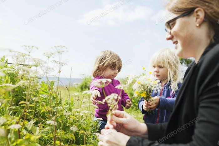 Frau mit Töchtern auf dem Feld