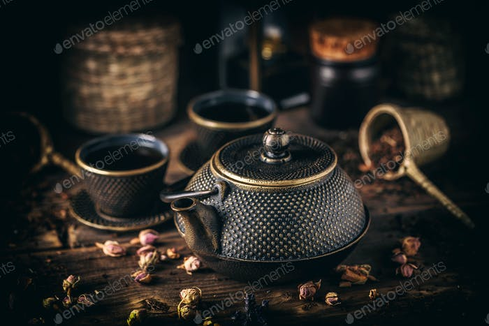 Asian iron tea set