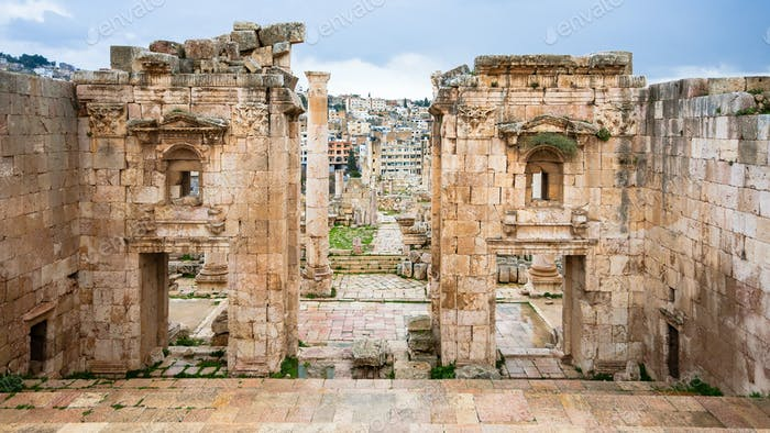 view of Jerash through Gates of Artemis temple