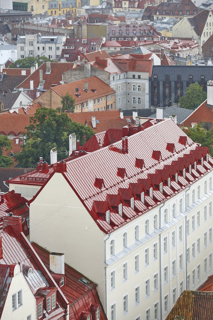 Tallinn old town cityscape view. Tourism landmark. Estonia. Europe