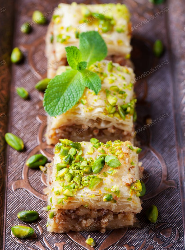 Baklava with pistachio Turkish pastry dessert