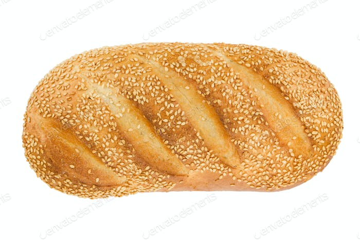 White bread with sesame. View from above.