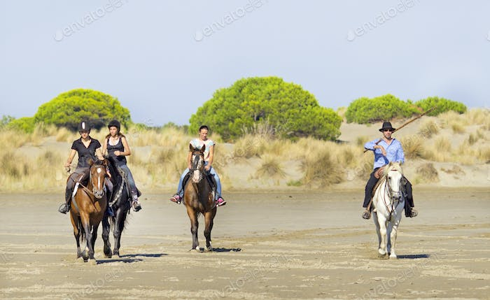 horsemen on the beach