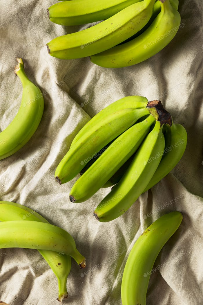 Organic Raw Green Unripe Bananas