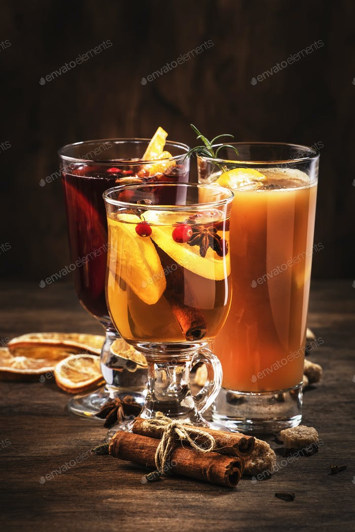 Selection of autumn or winter seasonal alcoholic hot cocktails