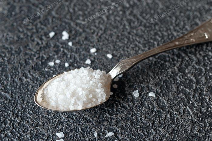 Spoon of sea salt