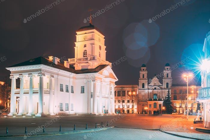 Minsk, Belarus. White Building Old City Hall In Minsk, Belarus.