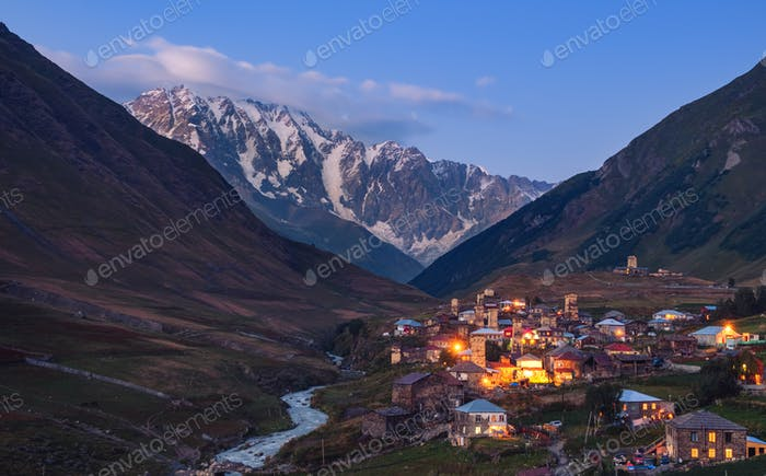 Mountain landscape at dusk, village Ushguli in Svaneti, Georgia