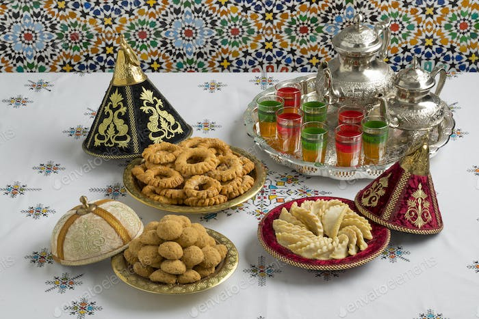 Traditional Moroccan cookies in a festive tajine