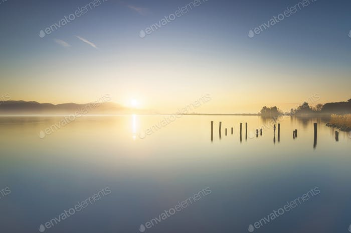 Wooden pier or jetty remains and lake at sunrise. Torre del lago Puccini Versilia Tuscany, Italy
