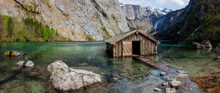 Panorama of Obersee mountain lake in Alps